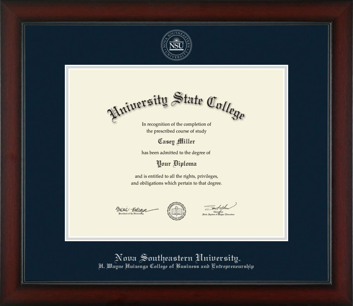 Nova Southeastern University H. Wayne Huizenga School of Business and Entrepreneurship - Officially Licensed - Silver Embossed Diploma Frame - Diploma Size 14'' x 11''