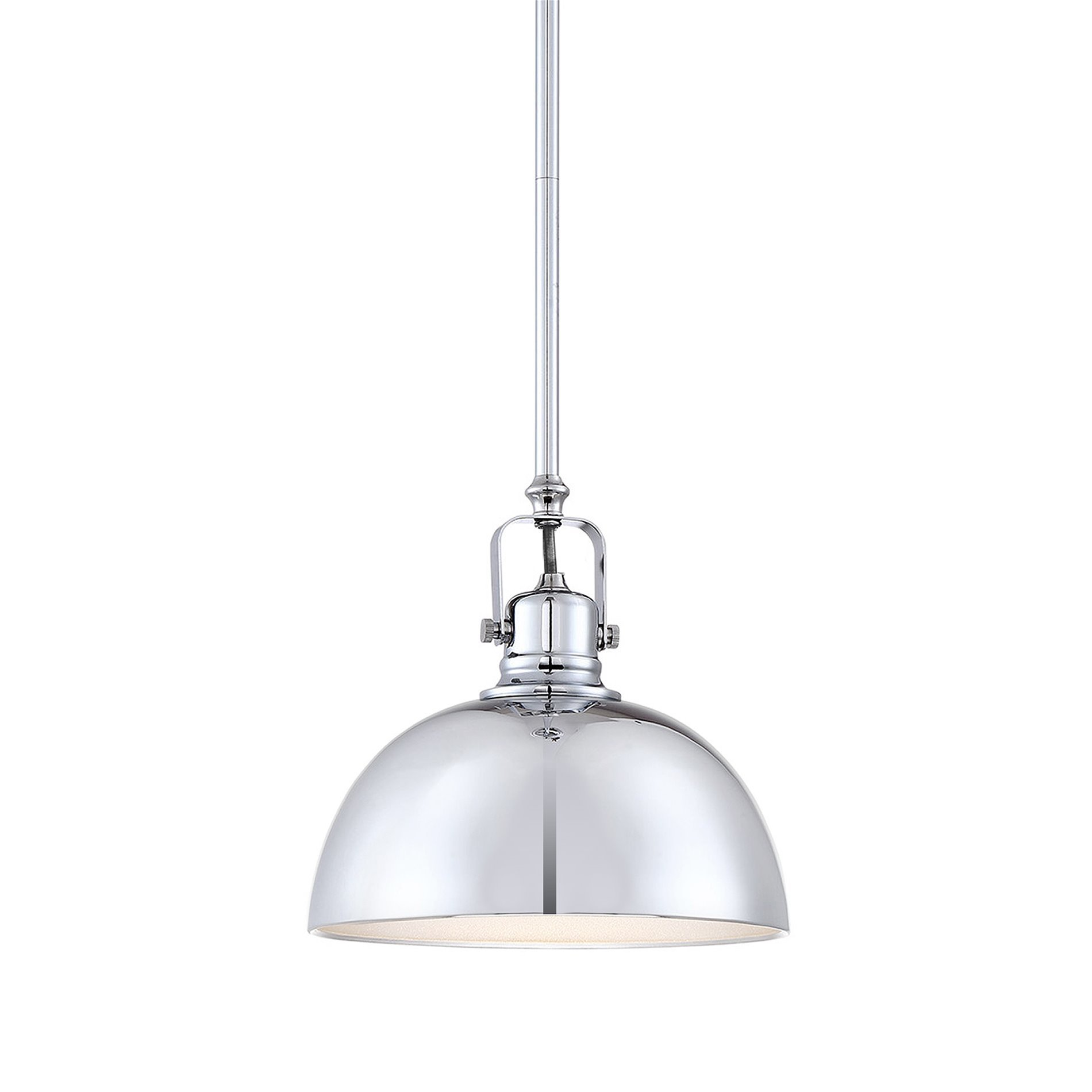 Revel/Kira Home Belle 9'' Contemporary 1-Light Pendant Light, Adjustable Length + Shade Swivel Joint, Chrome Finish