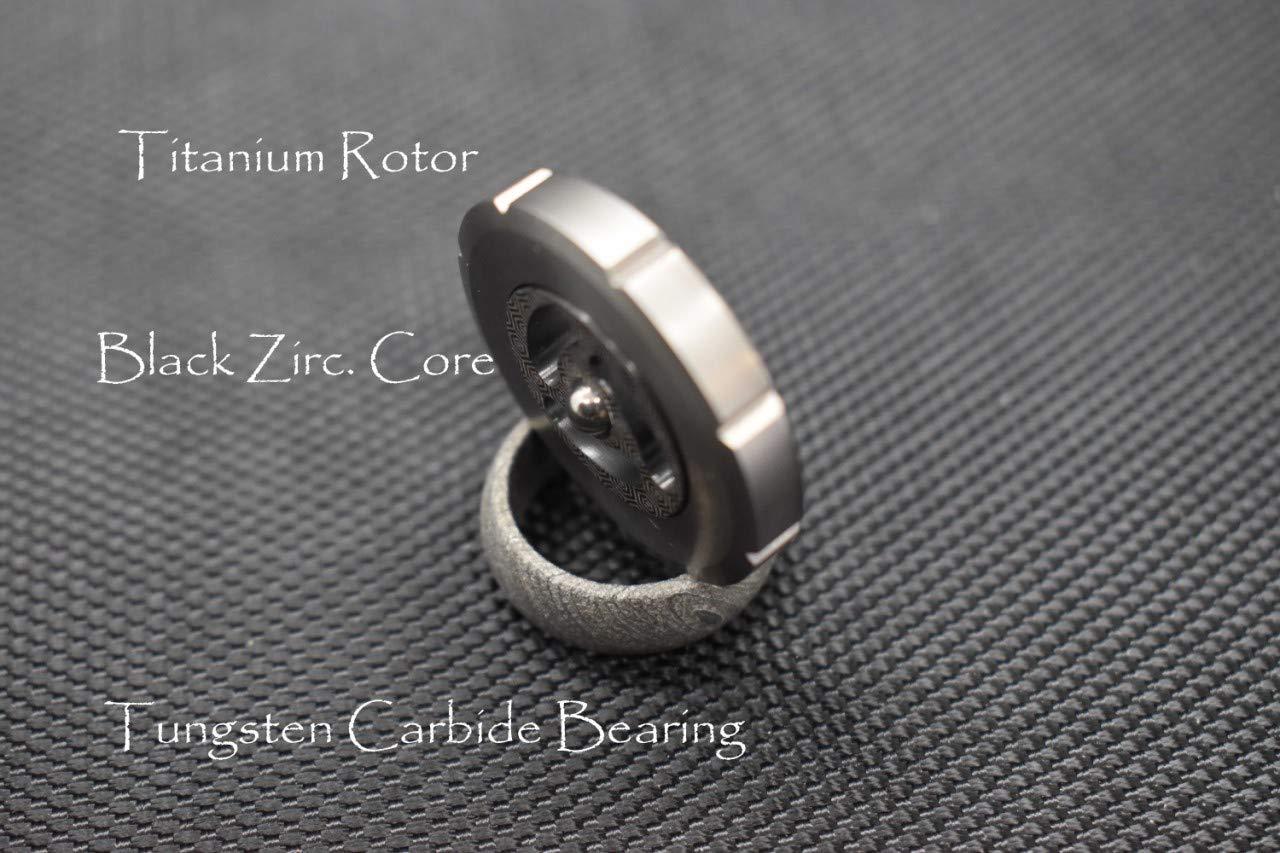 MetonBoss World's 1st Stemless Performer Spinning Top: Black Zirconium Core / Titanium Rotor / Tungsten Carbide Bearing | Gift for him EDC (Polished Titanium)