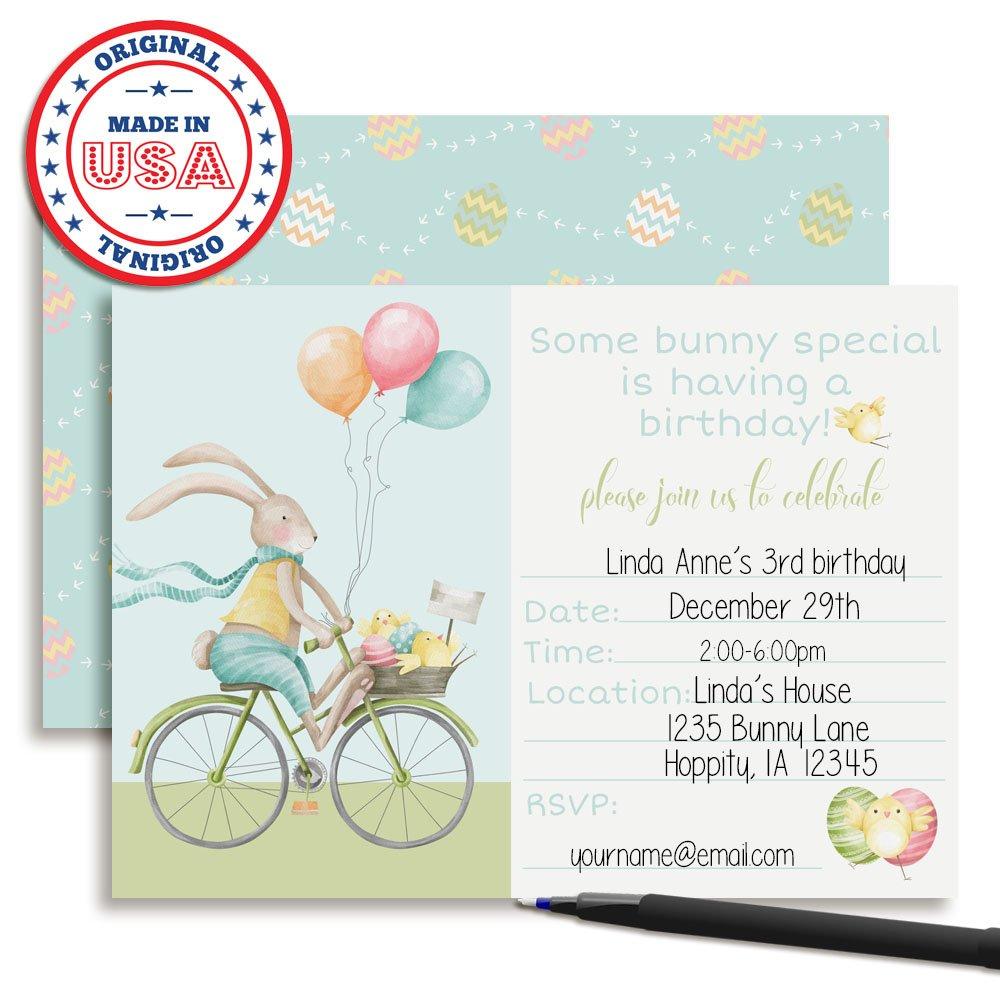 Amazon.com: Bunny Riding a Bike Easter Birthday Party Invitations ...
