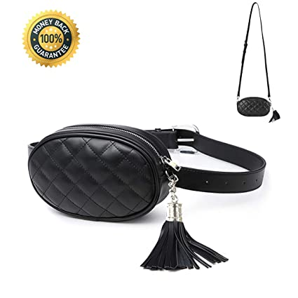 8528fe3449d8 Women Waist Bag Fashion Belt Pack Round Fanny Pack Stylish PU Waist Pouch  Adjustable Belt Chain Shoulder Bag (fanny pack for Black 2)