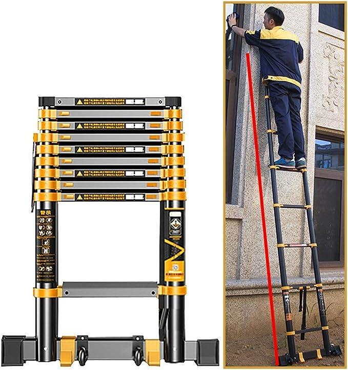 /Échelles t/élescopiques Hautes de 5 m // 5,4 m // 6,2 m // 7 m // 8 m Size : 5m//16.4ft Antid/érapant pour Les toits descaliers Erru Echelle Escamotable- /Échelle dextension de loft Portable avec Roues