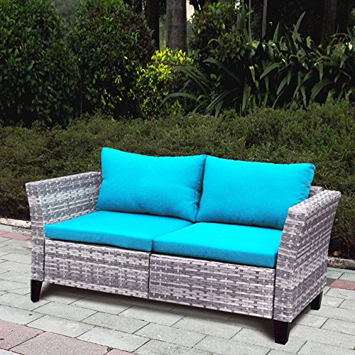 Indoor Outdoor Wicker Loveseat for Living Room, Patio Sectional Sofa Loveseat Bench Sofa WIith Cushion, Aluminum Fram, Long Lasting, UV/Fade/Water Resistant (Blue) (Outdoor Furniture Indoor Modular)