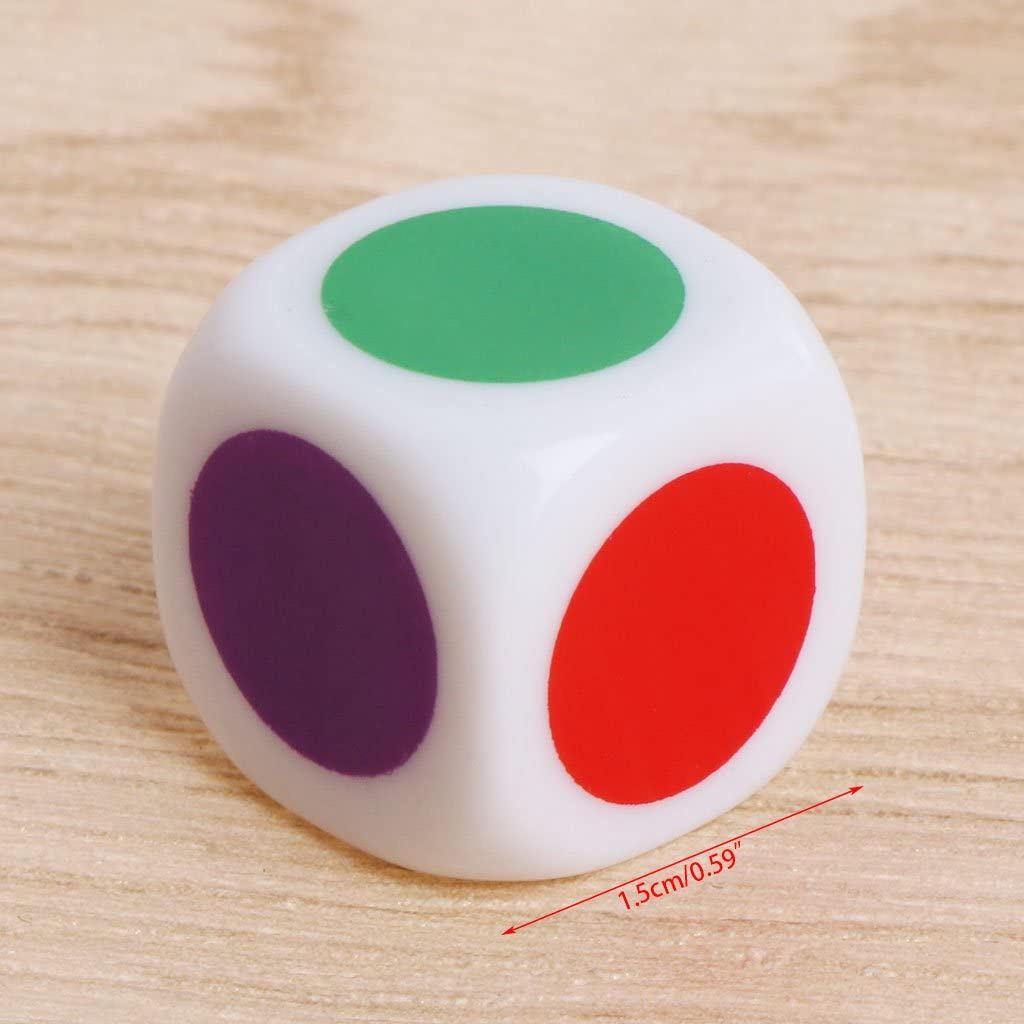 Rtengtunn 10Pieces 15mm Multicolor Acrylic Cube Dice Beads Six Sides Portable Table Games Toy