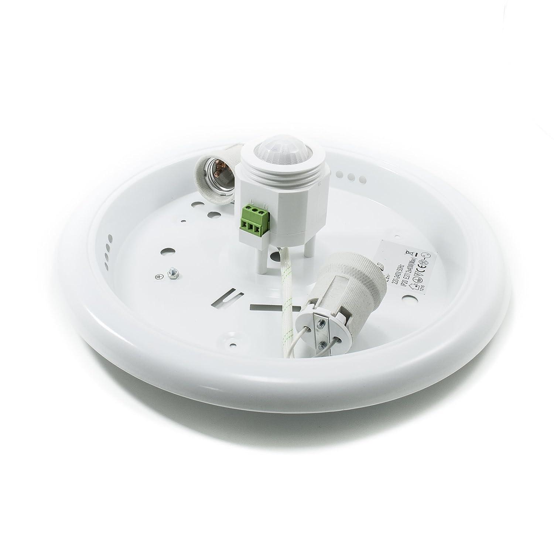 Plafón con sensor de presencia crepuscular integrado, 2 bombillas LED con rosca E27, 18 W, luz blanca fría: Amazon.es: Iluminación