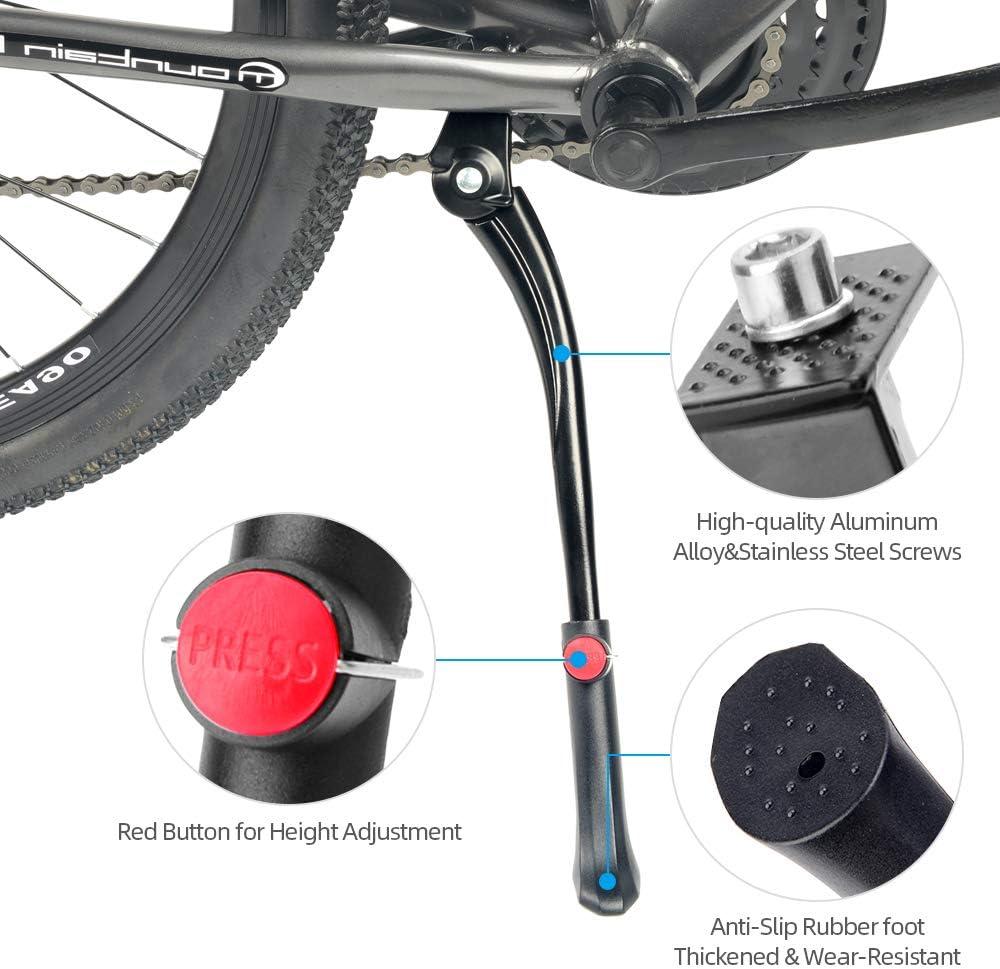 Cavalletto Centrale per Biciclette da 26-28 Pollici Cavalletto per Bici Cavalletto Regolabile in Lega di Alluminio con Piede in Gomma Antiscivolo