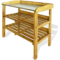 Outdoor Garden Potting Bench Work Station Table with 2 Shelves for Outside Patio Lawn Garden