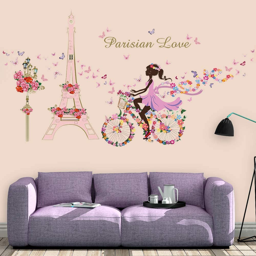 Supzone Bicycle Gril Wall Stickers Flowers Eiffel Tower Wall Decor Girls Baby Bedroom Kids Nursery Bathroom Wall Decals