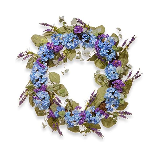 National Tree 32 Inch Spring Wreath with Blue and Purple Hydrangeas (RAS-AW030208A)