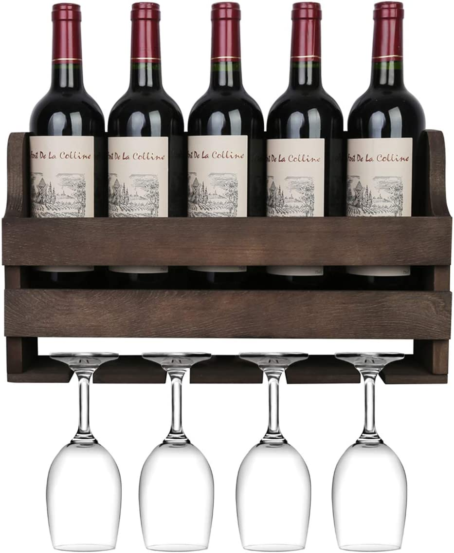 OROPY Rustic Wood Wall Mounted Wine Rack, Holds 5 Wine Bottles and 4 Stemware Glass Holder, Home Kitchen Decor (Rustic Brown)