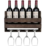 OROPY Rustic Wood Wall Mounted Wine Rack, Holds 5 Wine Bottles and 4 Stemware Glass Holder, Home Kitchen Decor (Walnut…