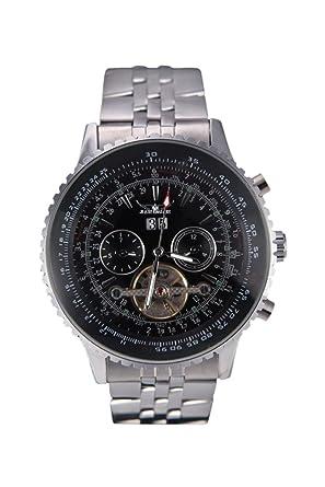 JARAGAR Automatic Self-winding Mechanical Wrist Watch with Analog Display Stainless Strap Balance Wheel Black