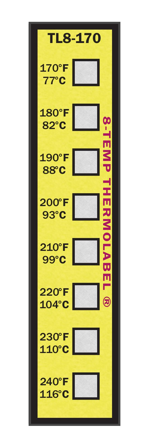 8-Temp Thermolabel 170-240°F Temperature Label Pack of 16 Labels