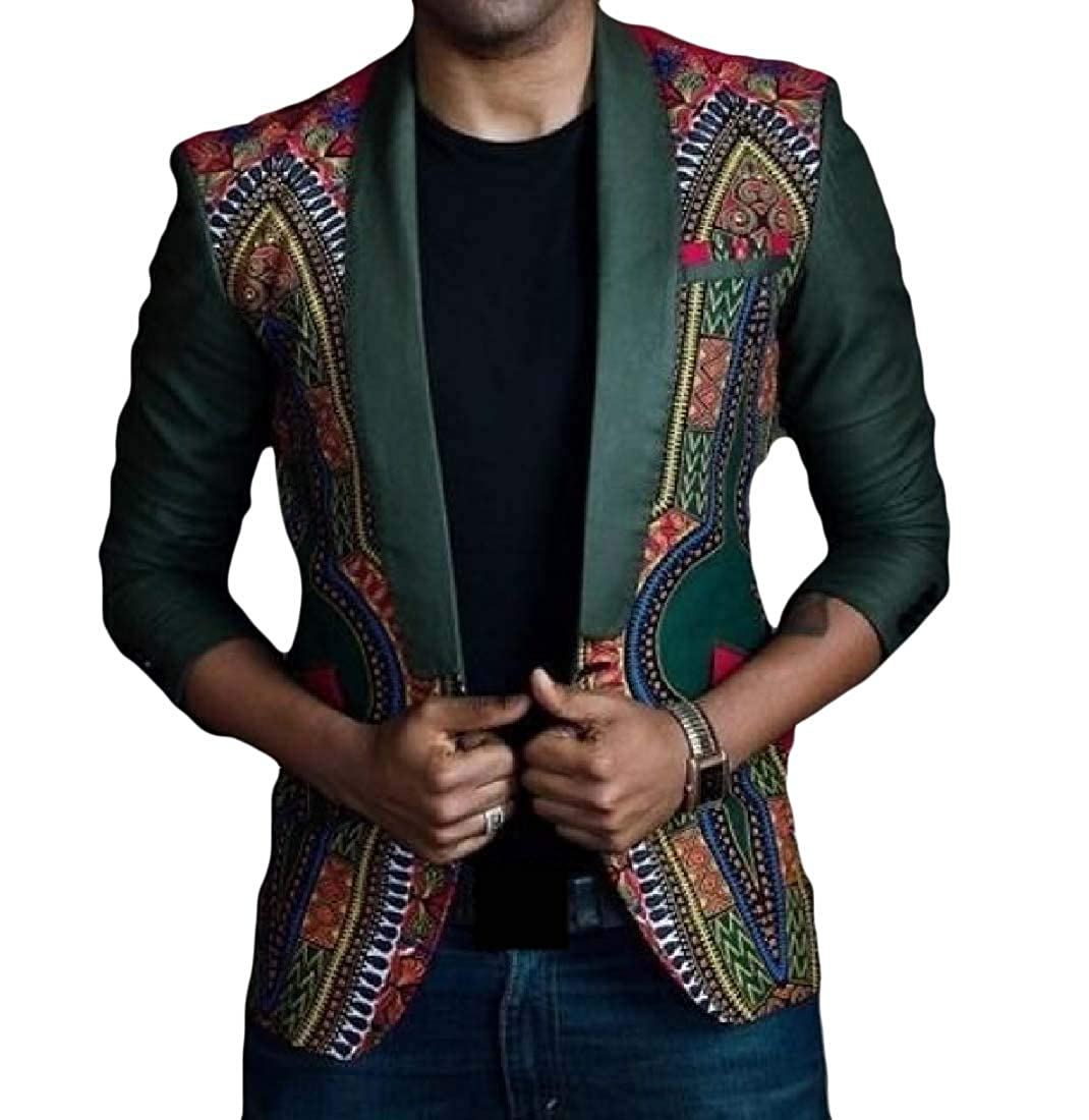 3f790997879c9 As Picture ROHEP Mens Mens Mens One Button African Fit Fashion Dashiki  Blazer Jacket Coat 696a6b