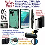 Value Pack + for 6'' Google Pixel 2 XL pixel2xl Case Screen Protector Phone Case 360° Cover Clip Holster Kickstand Armor Grip Sides Shock Bumper (Teal)