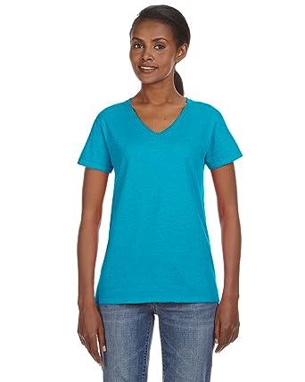 60102250c54 Anvil Ladies Missy Fit Ringspun V-Neck T-Shirt. 88VL Small Caribbean Blue