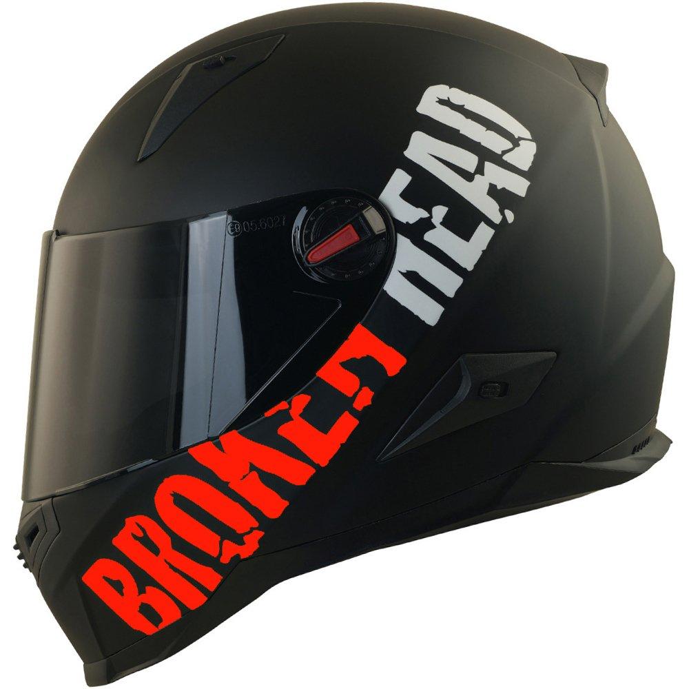 Broken Head BeProud rot Ltd. | Motorradhelm inkl. schwarzem Visier - schwarz-matt (M (57-58 cm)) 4050853763689