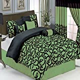 Candice Sage King size Luxury 11 piece Comforter set includes Comforter, sheets, skirt, Throw Pillows, Pillow Shams by Royal Hotel