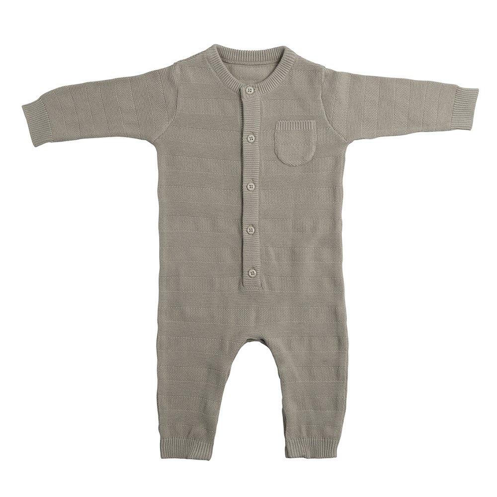 Babys Only gestrickter Strampler Streifen Gr.50 silbergrau