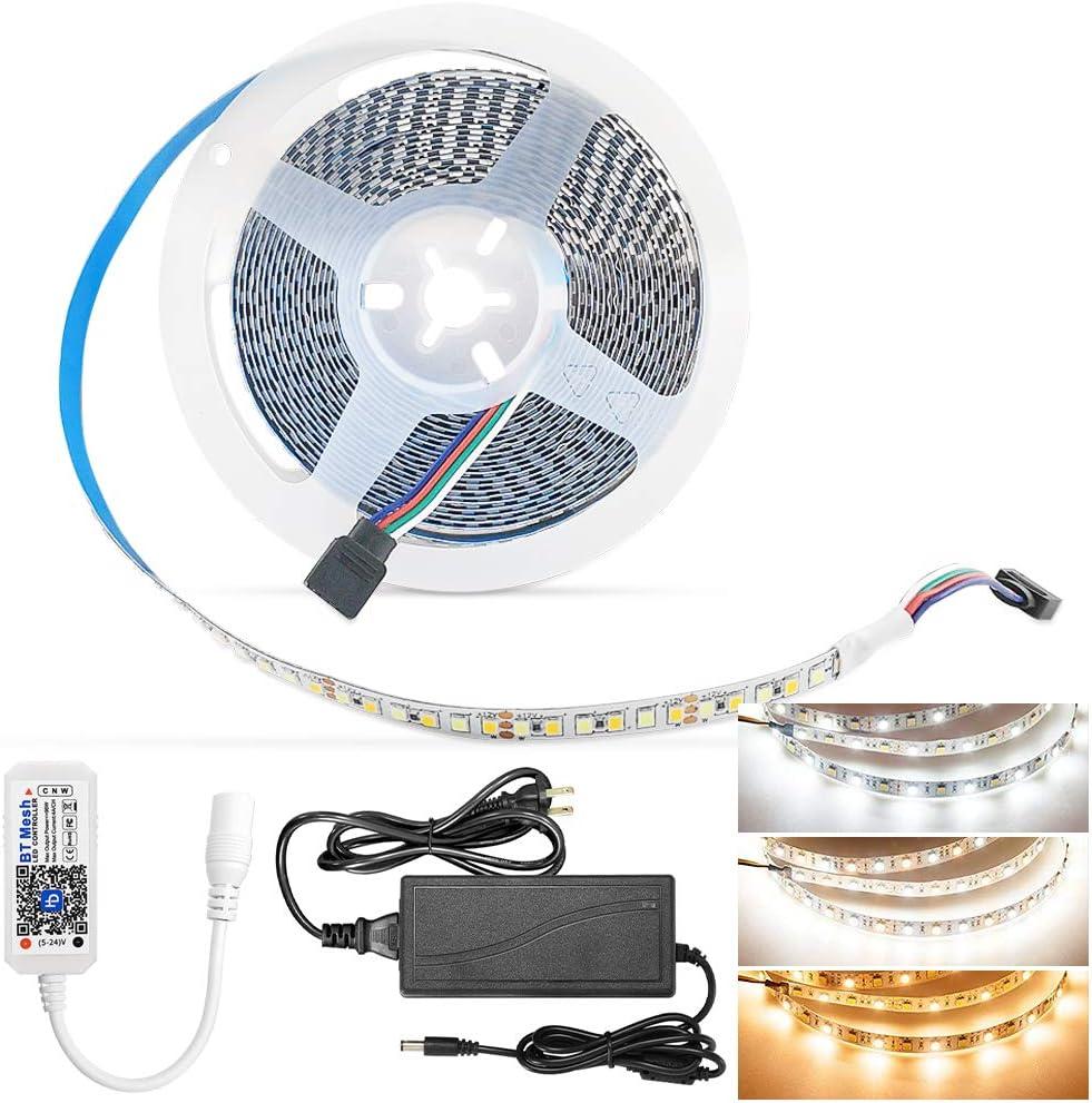 Dual White LED Strip Light Kit,16.4ft/5M 2835 900 LEDs Warm White/Daylight 2700K-6000K Dimmable Flexible LED Light Strip Bluetooth Control for Home, Kitchen, Bedroom, Under Cabinet
