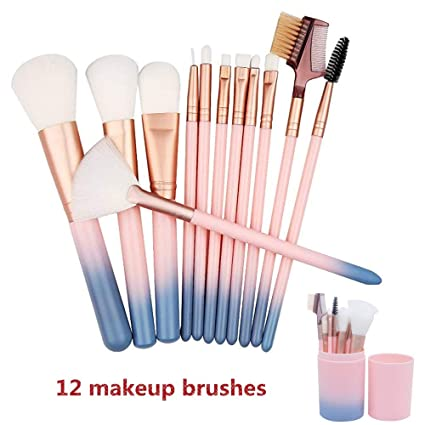 Set de brochas de maquillaje profesional HIROCK Set de 12 piezas de maquillaje Set de brochas de maquillaje Base de pincel sintético avanzado Mezcla ...