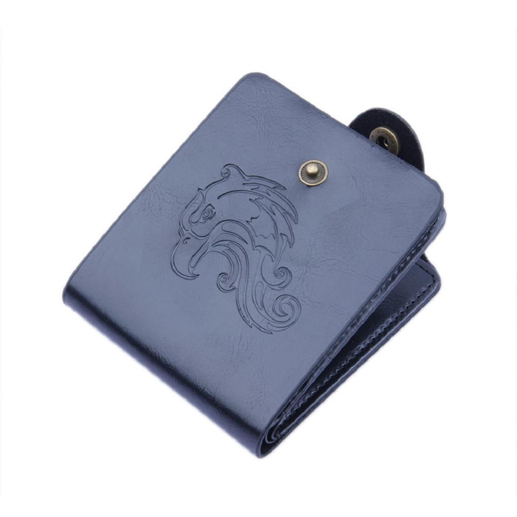 DBHAWK Men Bifold Business PU Leather Wallet ID Credit Card Holder Purse Pockets (Black-Eagel)