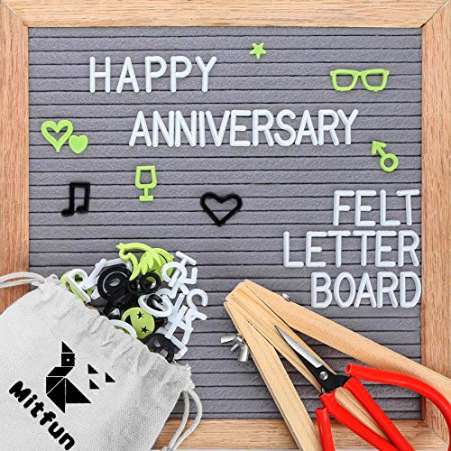 Mitfun Felt Letter Board 10x10 Inches Include 408 Plastic Characters and Oak Frame Word Board Message Sign with Scissors Vintage Stand -