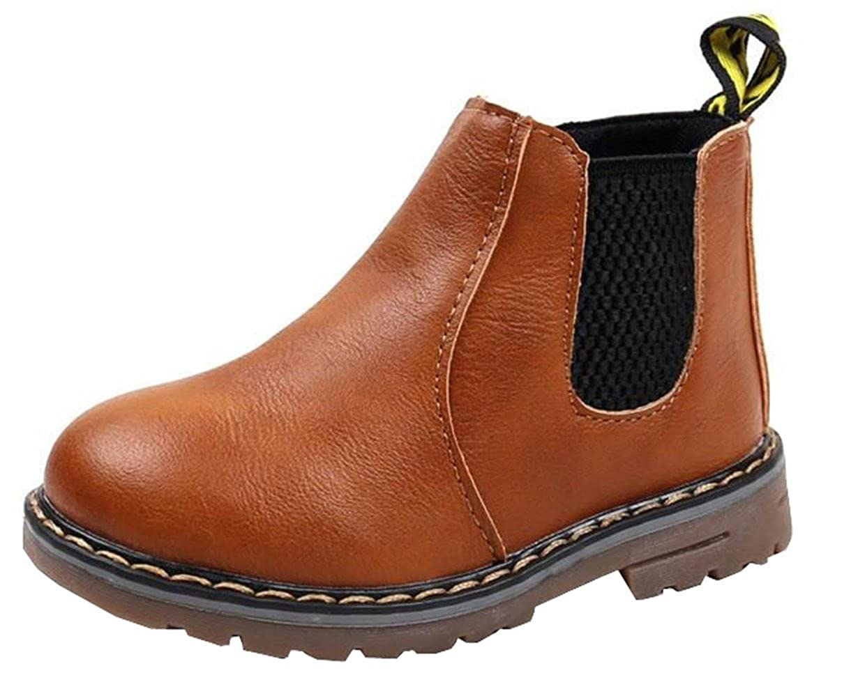 DADAWEN Boys Girls Waterproof Side Zipper Short Ankle Winter Snow Boots