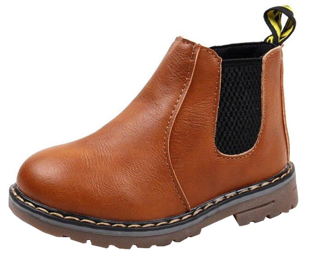 DADAWEN Boy's Girl's Waterproof Side Zipper Short Ankle Winter Snow Boots Brown US Size 1 M Little Kid