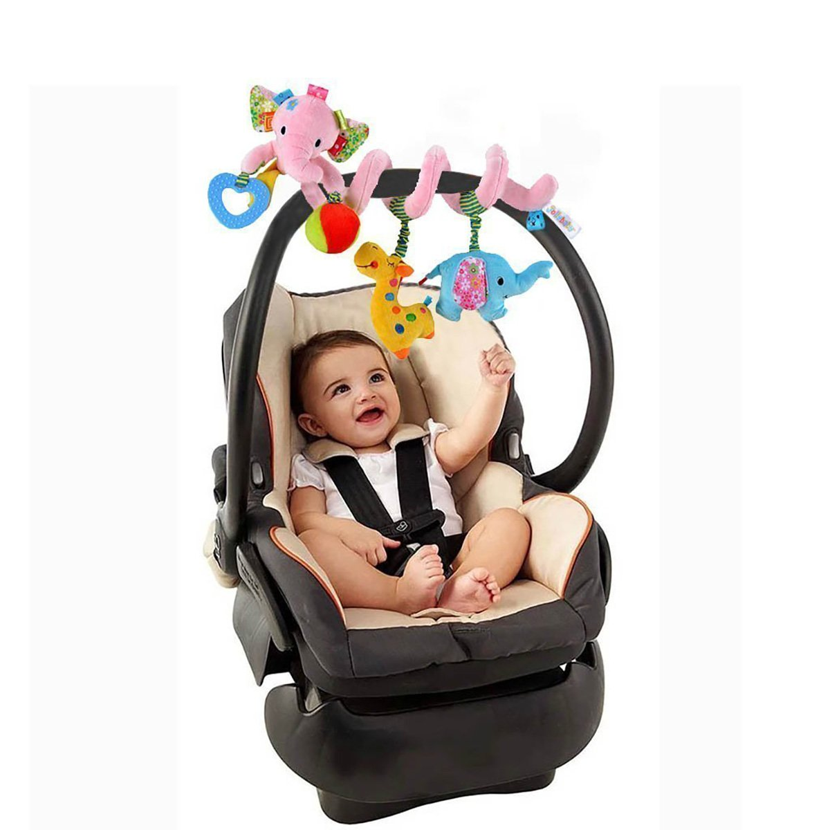 Hosim Cute Deer Design Infant Baby Around Crib Mobile Spiral Bed Bar Developmental Plush Animal Soft Toy Kids Stroller and Travel Activity Toy with Safety Mirror
