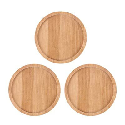 SQOWL 3 Pack 4.3 Inch Bamboo Round Plant Saucer Plant Pot Tray for Indoor and Outdoor Plants: Home & Kitchen