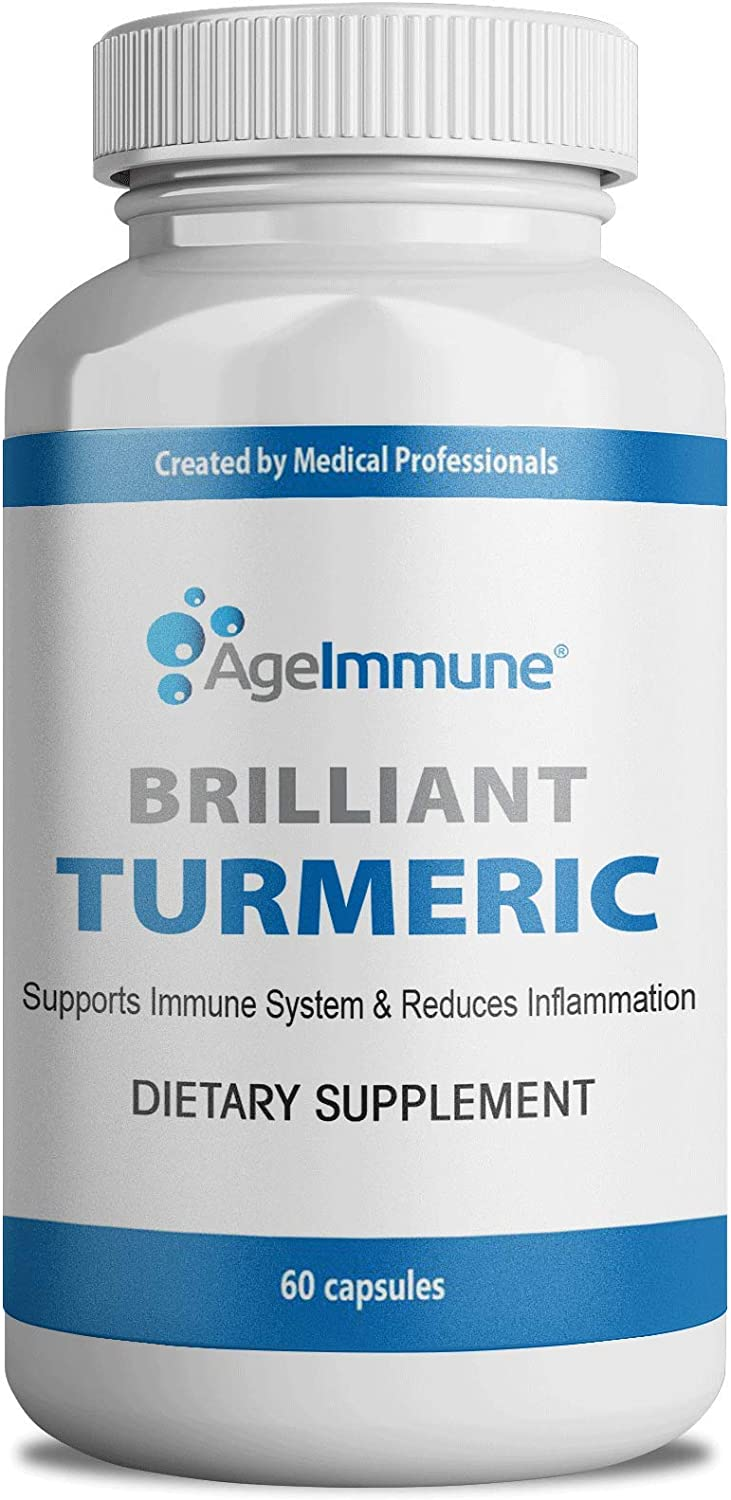 Brilliant Turmeric Curcumin 1000 mg Anti-Inflammatory Organic Herbal Supplement with Black Pepper as Bioperine for Pain Relief and Joint Support. Non-GMO. 60 Capsules