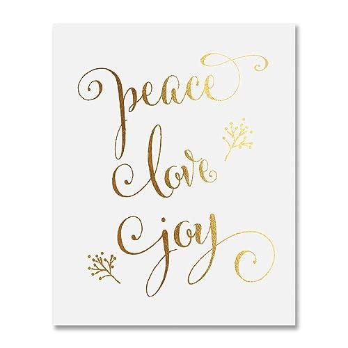 Amazon Com Peace Love Joy Gold Foil Print 8x10 Or 5x7 Winter Holiday Quote Poster Metallic Wall Art Decor Handmade