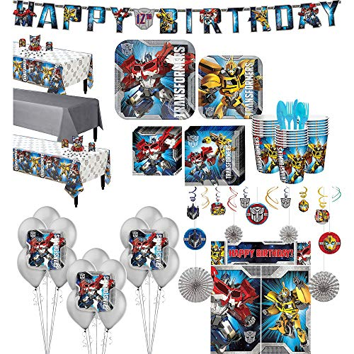 Party City Transformers Ultimate Tableware Supplies for 24 Guests, Include Plates, Napkins, Balloons, and Decorations]()