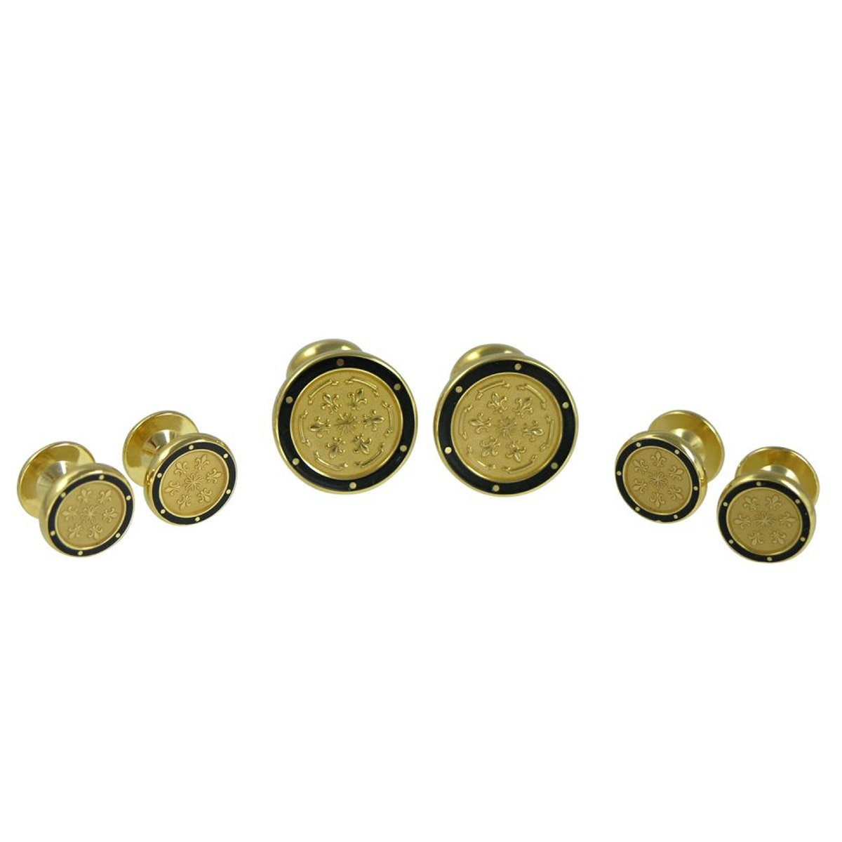 Baade Round black and Goldtone Floral Shirt Stud Cufflinks Set