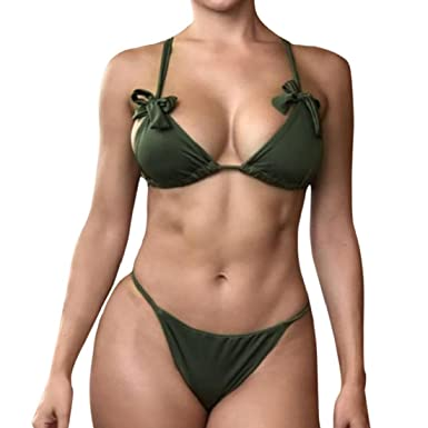 86431968c6 Amazon.com  GONKOMA Bikinis Set Swimwear Womens Bikini Set Push Up Swimsuit  Push Up Bikini Bathing Beachwear  Clothing