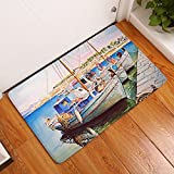 gel kitchen mats uk YJBear Thin Blue Sailing Boat Pattern Printed Indoor Floor Mat Rectangle Doormat Entry Mat Home Decor Carpet Kitchen Floor Runner 16