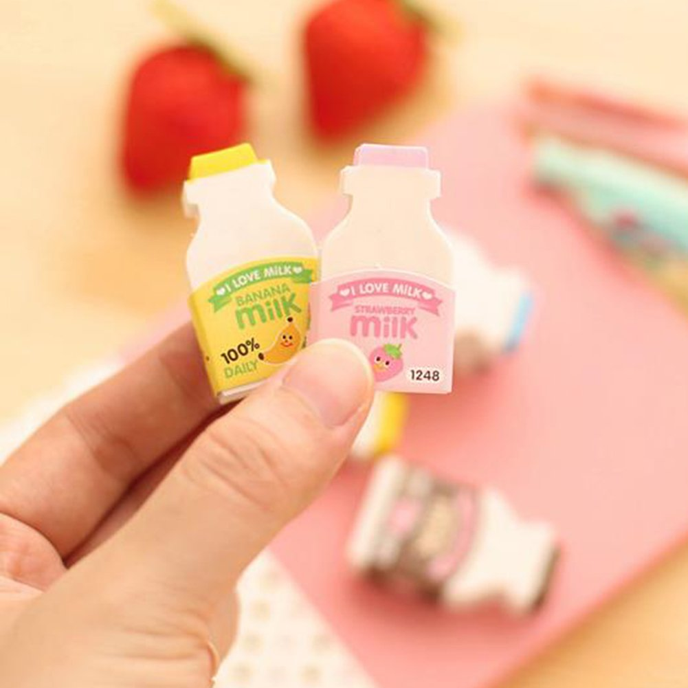 Random Color 2Pcs Random Color Cute Milk Bottle Style Eraser Office School Stationery Gift zsjhtc by zsjhtc (Image #4)