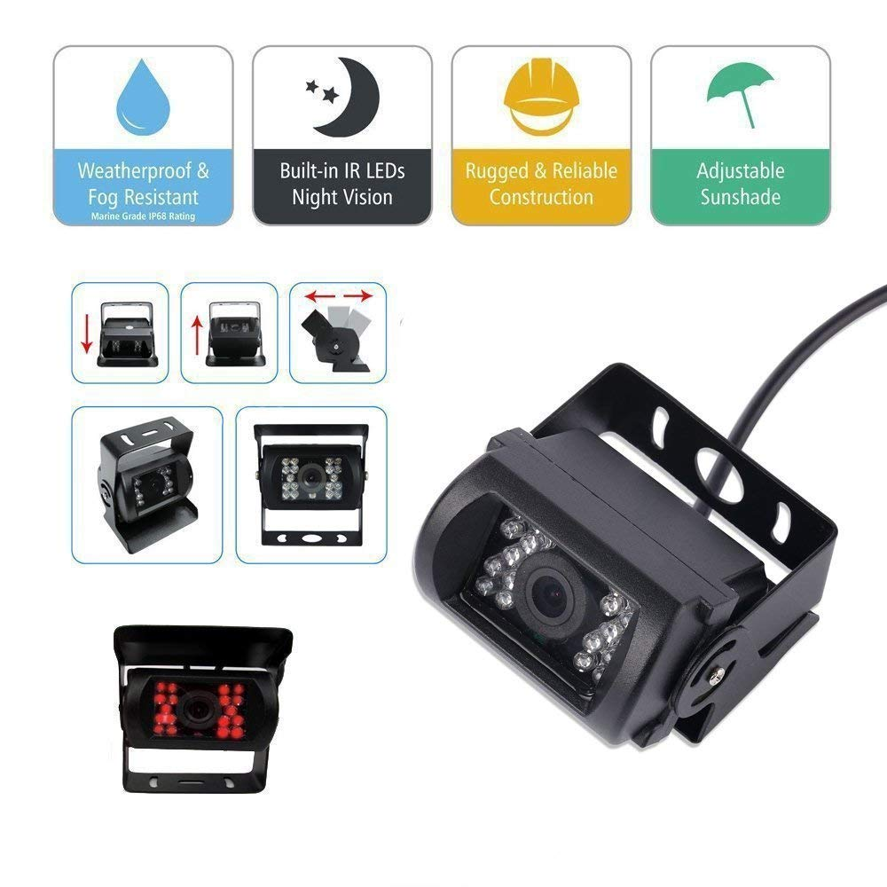 Vanxse Vehicle Backup Cameras Monitor Kit 4 Pin System 370z Mirror Wire Diagram 12v 24v4x 18 Led Ir Night Version Ccd Car Reverse Rear View Miror Camera 9 Inch Lcd