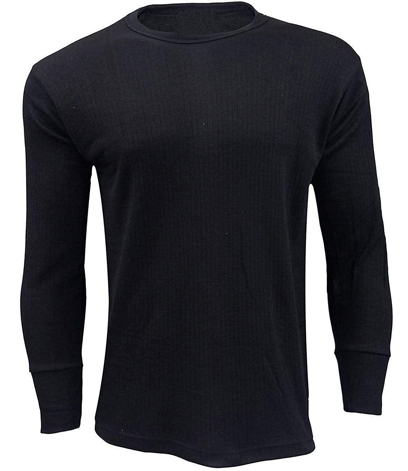 3X Men's Thermal Shirt Top Underwear Full Sleeve Vest Warm Winter Baselayer Underwear T-Shirt Black