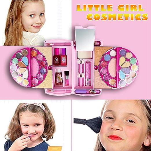 rosemaryrose para Disney 53pcs Kids Cosmetics Set Toy, Pandora Magic Mirror Series Maquillaje De Juguete Seguro Y No Tóxico para Las Niñas Practicando Maquillaje, Little Girl Makeup Kit Handbag: Amazon.es: Hogar