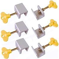 Nrpfell 6 Pieces Adjustable Sliding Window Locks Stops Aluminum Alloy Door Frame Security Lock with Keys
