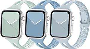 Bandiction Compatible with Apple Watch Band 38mm 40mm, Breathable Women Narrow Slim iWatch Bands Silicone Sport Band Replacement Strap Compatible for iWatch Series 6 SE 5 4 3 2 1, 3 Pack, 38/40mm