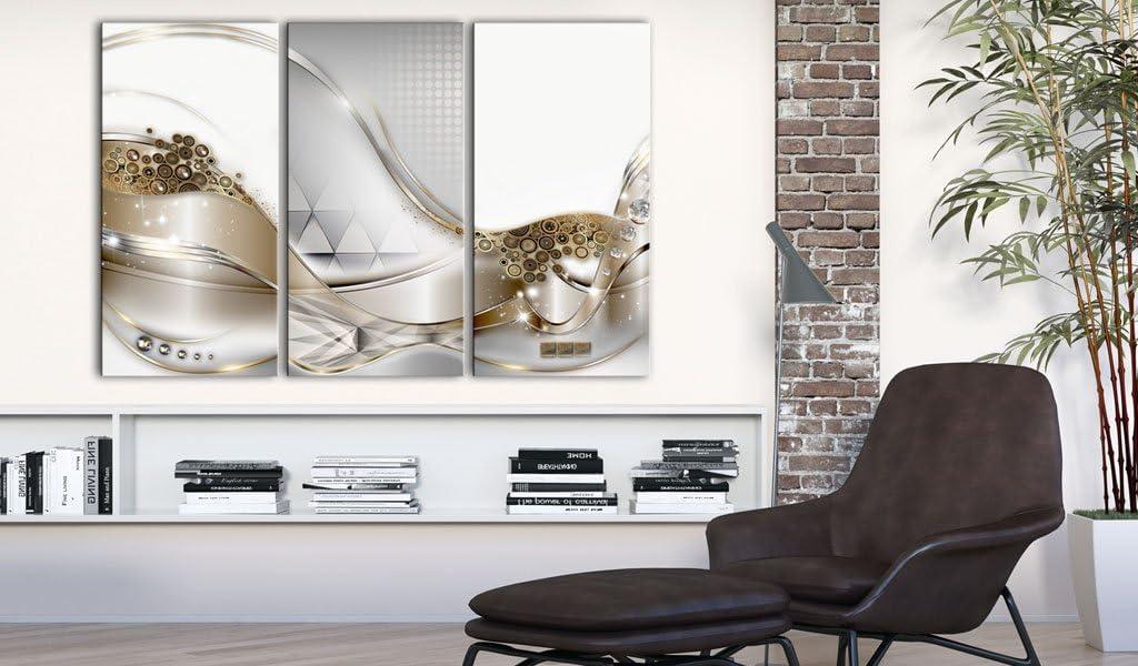 murando Tableau Acoustique Abstrait Or 90x60 cm Impression sur Toile Image Photo Toile intisse 3 Pieces Tableaux murals Absorption Acoustique Tableau Decoration Murale a-C-0014-b-f