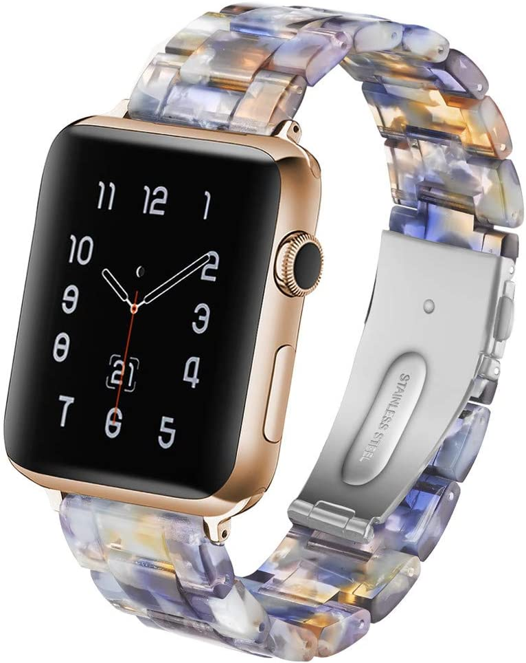 CAUNEDY Resin Watch Band for 42mm 44mm Apple Watch Series 5 4 3 2 1 with Stainless Steel Buckles Fashion Lightweight Sport Smart Watch Wristband Strap for Men Women(42/44mm,Ocean Blue)