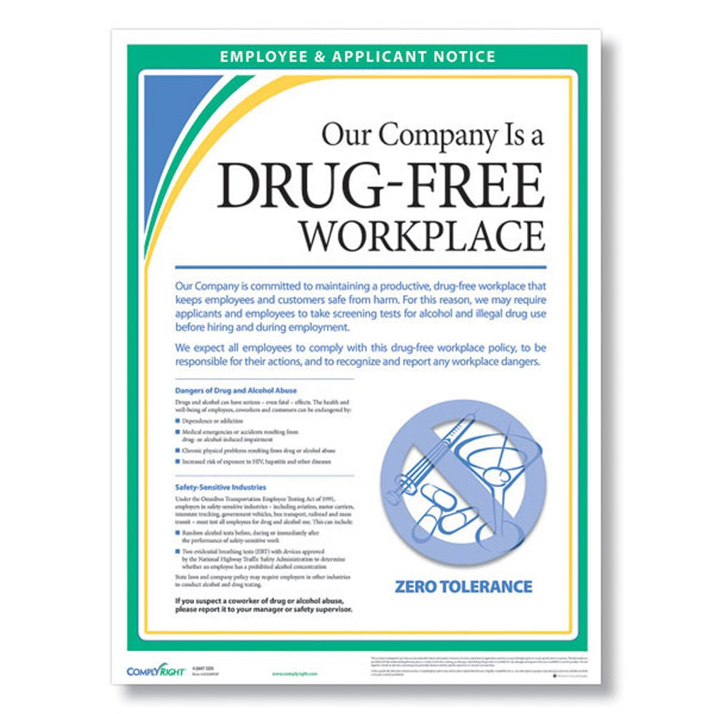 Amazon com: ComplyRight WR0248 Drug-Free Workplace Poster