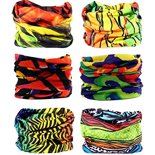 6PCS/15PCS 16-in-1 Multifunctional Headwear Yoga Sports Stretchable Casual Headband Seamless Uv Solid Moisture Neckwarmer Headwrap Mask Bandana Scarf (6pcs-Ngreen Lightning)