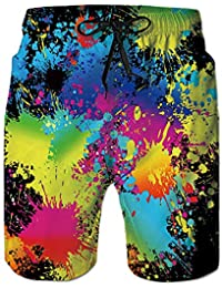 38cfcc8cc6 Men's Swim Trunks 3D Printed Beach Board Shorts with Pockets Cool Novelty Bathing  Suits for Teen