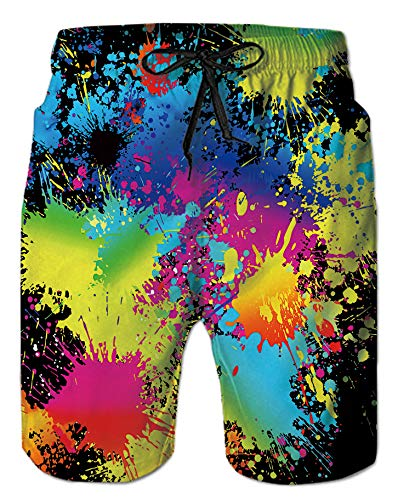 Mens Beach Shorts 3D Digital Print Black Red Paint Tie-Dye Colorful Pattern Athletic Mesh Liner Sports Swimwear High Waist Spandex Compression Boardshorts Swim Trunks for Teen Boy Casual Home Outdoor