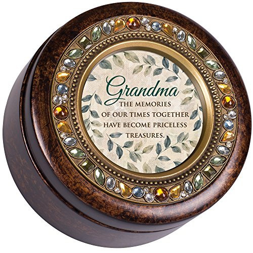 Jeweled Treasure (Grandma Memories Treasures Jeweled Amber Earth Toned Round Music Box Plays Wind Beneath My Wings)